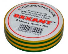Изолента 15мм х 25м желто-зеленая REXANT