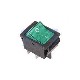 Зеленый клавишный выключатель 250В 16А (4с) ON-OFF с подсветкой (RWB-502, SC-767, IRS-201-1)