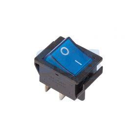 Синий клавишный выключатель 250В 16А (4с) ON-OFF с подсветкой (RWB-502, SC-767, IRS-201-1)