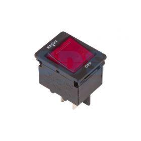 Красный клавишный выключатель - автомат 250V 15А (4с) RESET-OFF с подсветкой (IRS-2-R15)